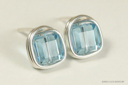 Sterling silver wire wrapped aquamarine  crystal cube stud earrings handmade by Jessica Luu Jewelry
