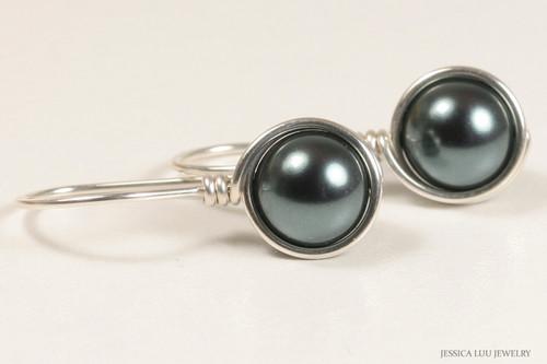 Sterling silver wire wrapped blue grey Tahitian Swarovski pearl drop earrings handmade by Jessica Luu Jewelry