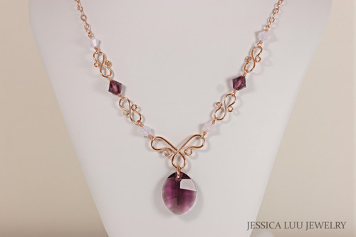Rose Gold Amethyst Purple Swarovski Crystal Necklace - Available with Matching Earrings