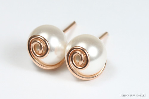 14K rose gold filled wire wrapped white pearl stud earrings handmade by Jessica Luu Jewelry