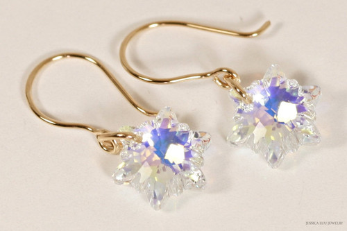 14K yellow gold filled iridescent clear aurora borealis AB Swarovski crystal snowflake edelweiss dangle earrings handmade by Jessica Luu Jewelry