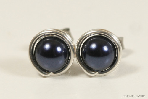 Sterling silver wire wrapped dark navy night blue Swarovski pearl stud earrings handmade  by Jessica Luu Jewelry