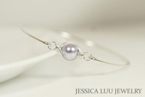 Sterling silver wire wrapped bangle bracelet with lavender Swarovski pearl handmade by Jessica Luu Jewelry