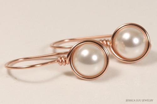 14k rose gold filled wire wrapped white Swarovski pearl drop earrings handmade by Jessica Luu Jewelry