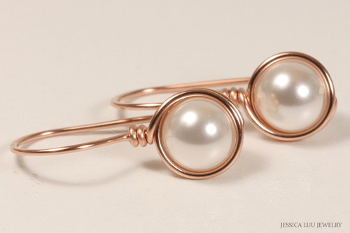 14k rose gold filled wire wrapped white pearl drop earrings handmade by Jessica Luu Jewelry