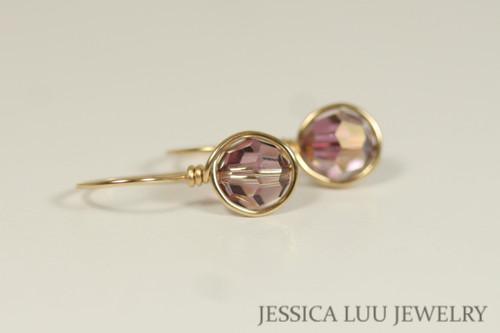 14K yellow gold filled wire wrapped iridescent purple lilac shadow Swarovski crystal drop earrings handmade by Jessica Luu Jewelry