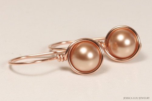 14K rose gold filled wire wrapped pearl drop earrings handmade by Jessica Luu Jewelry