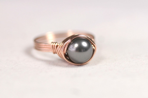 Rose Gold Dark Grey Pearl Ring - Other Metal Options Available