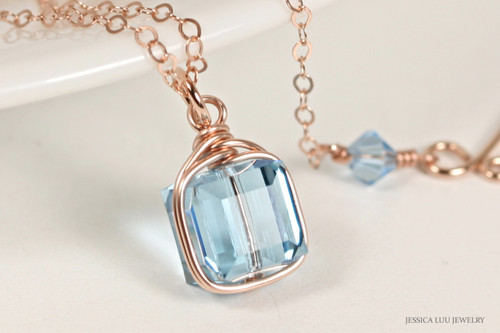 14K rose gold filled wire wrapped aquamarine blue Swarovski crystal cube pendant on chain necklace handmade by Jessica Luu Jewelry