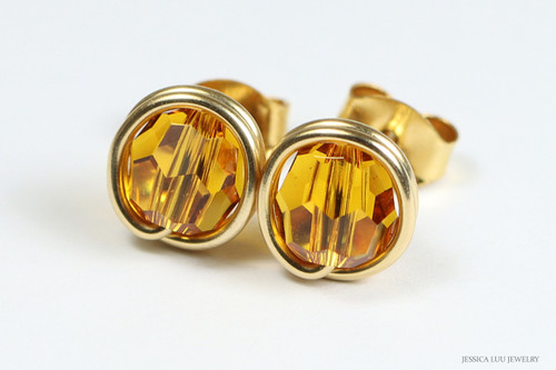 14K yellow gold filled wire wrapped orange topaz crystal round stud earrings handmade by Jessica Luu Jewelry