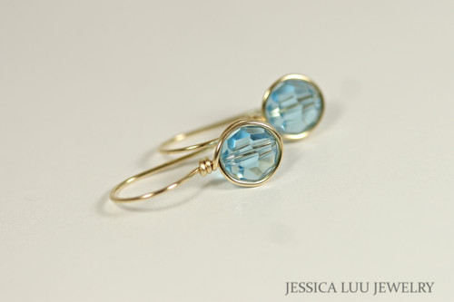 Gold Aquamarine Swarovski Crystal Earrings - Available with Matching Necklace and Other Metal Options