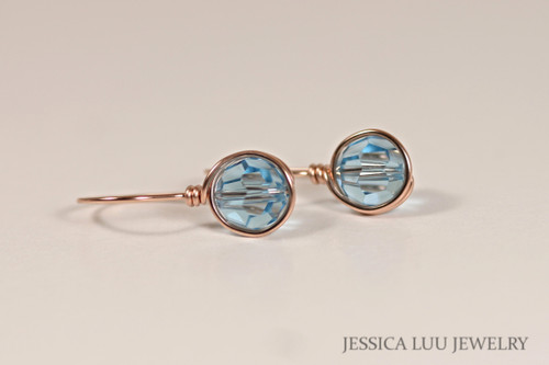 Rose Gold Aquamarine Swarovski Crystal Earrings - Available with Matching Necklace and Other Metal Options