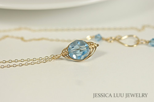 Gold Aquamarine Crystal Necklace - Available with Matching Earrings and Other Metal Choices