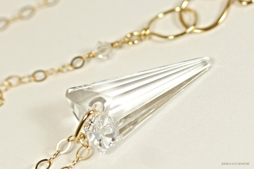 14K yellow gold filled clear Swarovski crystal spike pendant on chain necklace handmade by Jessica Luu Jewelry