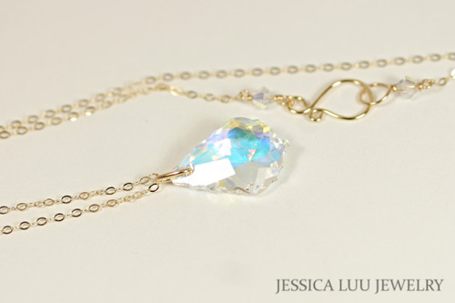 Gold Iridescent Clear Swarovski Crystal Pendant Necklace - Available with Matching Earrings and Other Metal Options