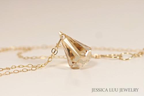 14K yellow gold filled golden shadow Swarovski crystal xirius raindrop pendant on chain necklace handmade by Jessica Luu Jewelry
