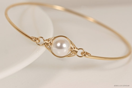 14k yellow gold filled wire wrapped bangle bracelet with white pearl handmade by Jessica Luu Jewelry