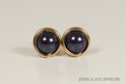 14K yellow gold filled wire wrapped dark purple Swarovski pearl stud earrings handmade by Jessica Luu Jewelry