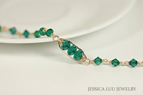 Gold Emerald Green Swarovski Crystal Beaded Link Bracelet