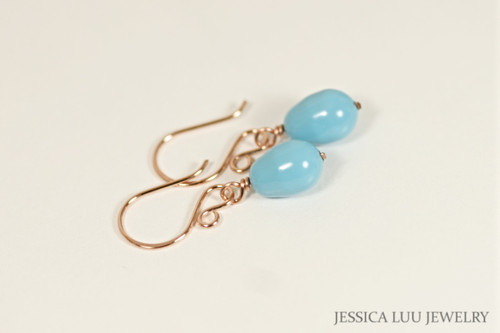 14K rose gold filled wire wrapped turquoise blue Swarovski teardrop pearl drop earrings handmade by Jessica Luu Jewelry