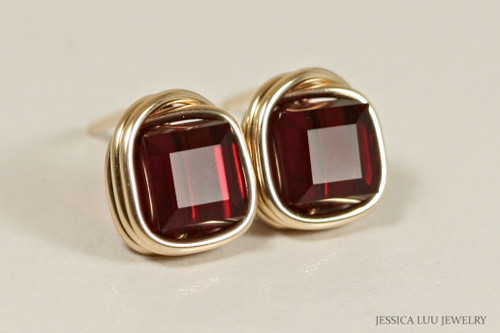 14K yellow gold filled wire wrapped dark red garnet siam crystal cube stud earrings handmade by Jessica Luu Jewelry