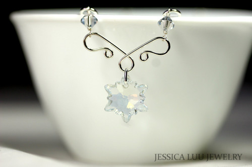 Sterling Silver Snowflake Swarovski Crystal Necklace - Available with Matching Earrings
