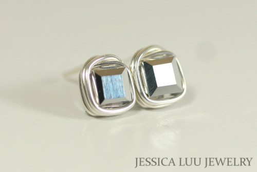 Sterling Silver Metallic Crystal Stud Earrings - Available with Matching Necklace and Other Metal Options
