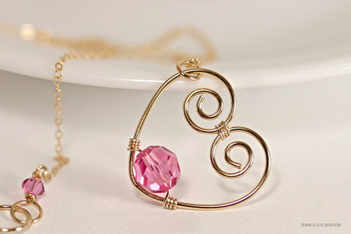 14K yellow gold filled wire wrapped rose pink Swarovski crystal heart pendant on chain necklace handmade by Jessica Luu Jewelry