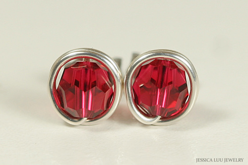 Sterling silver wire wrapped ruby red scarlet crystal stud earrings handmade by Jessica Luu Jewelry