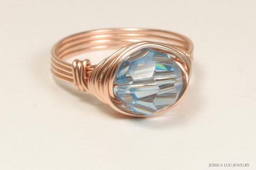 14K rose gold filled wire wrapped aquamarine Swarovski crystal ring handmade by Jessica Luu Jewelry