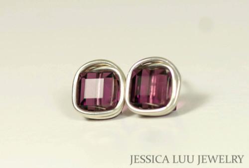 Sterling silver wire wrapped amethyst purple Swarovski crystal square cube stud earrings handmade by Jessica Luu Jewelry