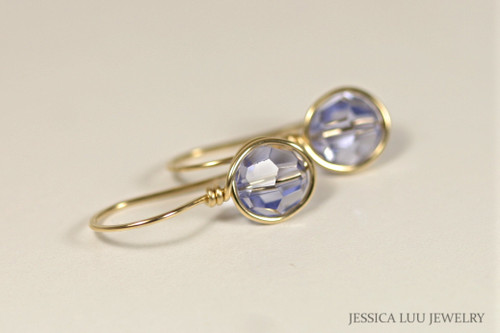 Gold Lavender Swarovski Crystal Earrings - Other Metal Options Available