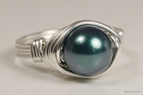 Sterling silver wire wrapped iridescent Tahitian Swarovski pearl solitaire ring handmade by Jessica Luu Jewelry