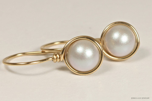 14K yellow gold filled wire wrapped iridescent dove grey silver Swarovski pearl drop earrings handmade by Jessica Luu Jewelry