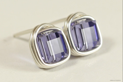 Sterling silver wire wrapped blue purple tanzanite Swarovski crystal cube square stud earrings handmade by Jessica Luu Jewelry