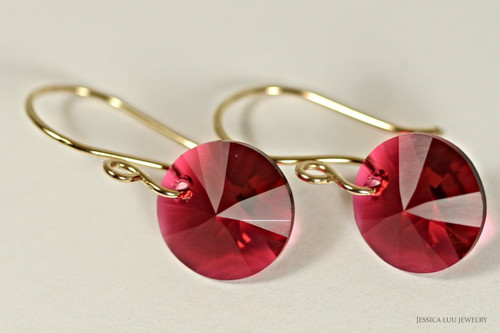 14K yellow gold filled scarlet red Swarovski crystal rivoli dangle earrings handmade by Jessica Luu Jewelry