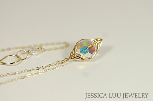 Gold Iridescent Clear Swarovski Crystal Necklace - Available with Matching Earrings and Other Metal Options
