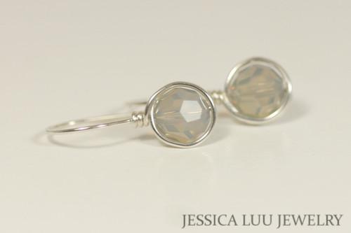 Sterling silver wire wrapped light grey opal Swarovski crystal drop earrings handmade by Jessica Luu Jewelry