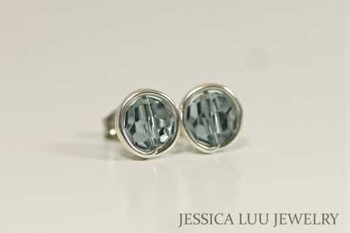 Sterling silver wire wrapped blue grey Indian sapphire Swarovski crystal round stud earrings handmade  by Jessica Luu Jewelry
