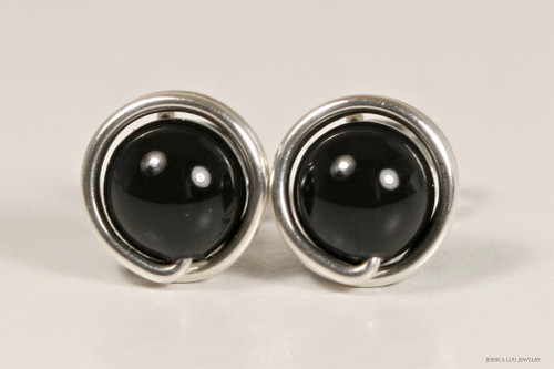 Sterling silver wire wrapped mystic black Swarovski pearl stud earrings handmade by Jessica Luu Jewelry