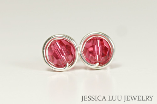 Sterling silver wire wrapped Indian pink Swarovski crystal round stud earrings handmade by Jessica Luu Jewelry