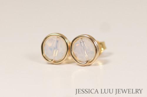 14K yellow gold filled white opal Swarovski crystal stud earrings handmade by Jessica Luu Jewelry