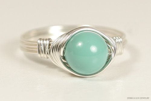 Sterling silver wire wrapped jade pearl solitaire ring handmade by Jessica Luu Jewelry