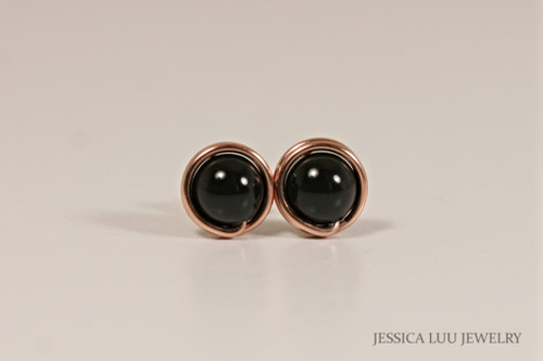 14K rose gold filled wire wrapped mystic black Swarovski pearl stud earrings handmade by Jessica Luu Jewelry
