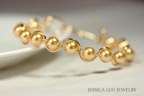 14k yellow gold filled wire wrapped bracelet with Swarovski pearls handmade by Jessica Luu Jewelry