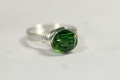 Sterling Silver Green Swarovski Crystal Ring - Other Metal Options Available