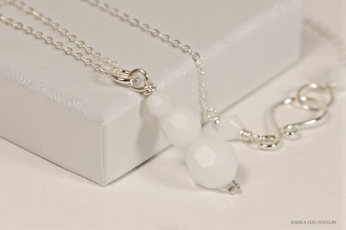 Sterling Silver White Alabaster Swarovski Crystal Necklace - Available with Matching Earrings and Other Metal Options