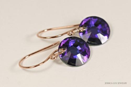14K rose gold filled earrings with purple heliotrope Swarovski crystal sun pendants handmade by Jessica Luu Jewelry