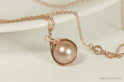 14K rose gold filled wire wrapped beige powder almond Swarovski pearl solitaire pendant on chain necklace handmade by Jessica Luu Jewelry