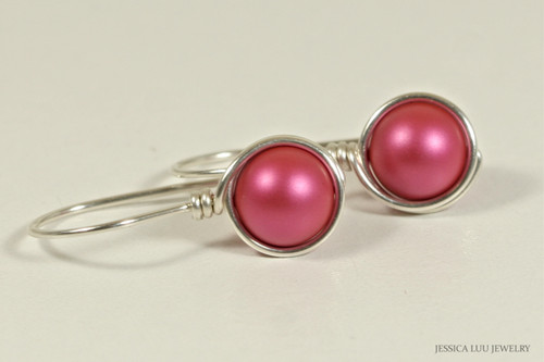 Sterling silver wire wrapped dark pink mulberry pearl drop earrings handmade by Jessica Luu Jewelry